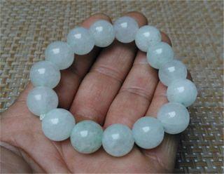 100 Natural White Jade Bead Bracelet Jade Column Diameter: 13 Mm photo