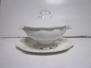 Antique Ironstone White Covered Serving Bowl & Small Bone Colored Platter (as - Is) photo