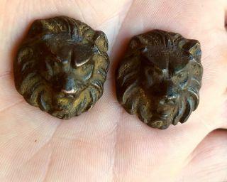 Ancient Roman Bronze Lion Masks photo