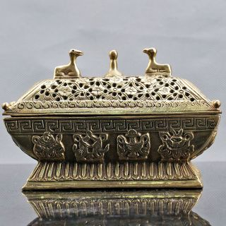 Old Peking Collectable Brass Hand Carved Incense Burner W Xuande Mark photo