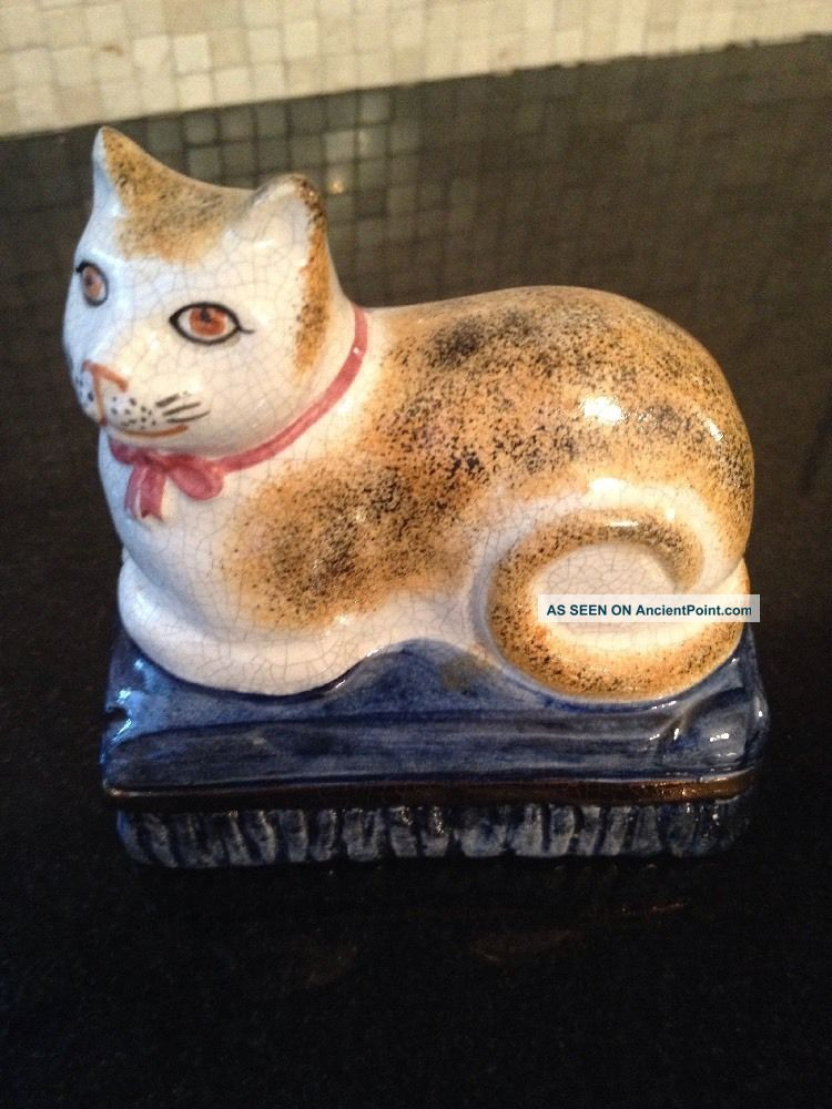 Antique Staffordshire Cat Made In England Porcelain Desk Paperweight Statue Metalware photo
