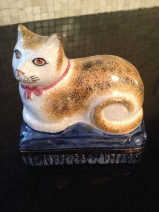 Antique Staffordshire Cat Made In England Porcelain Desk Paperweight Statue photo