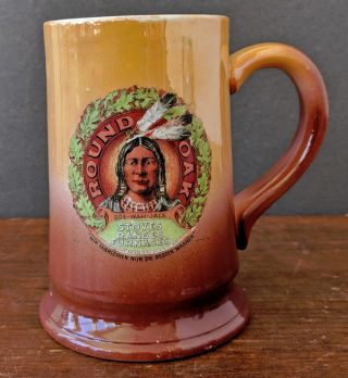 1907 Round Oak Stoves Advertising Stein Mug,  Doe - Wah - Jack American Indian Logo photo