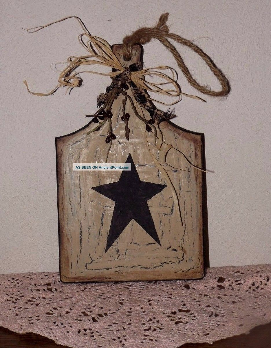 Primitive Crackle Star Wooden Cutting Board - Country Farmhouse Decor Primitives photo