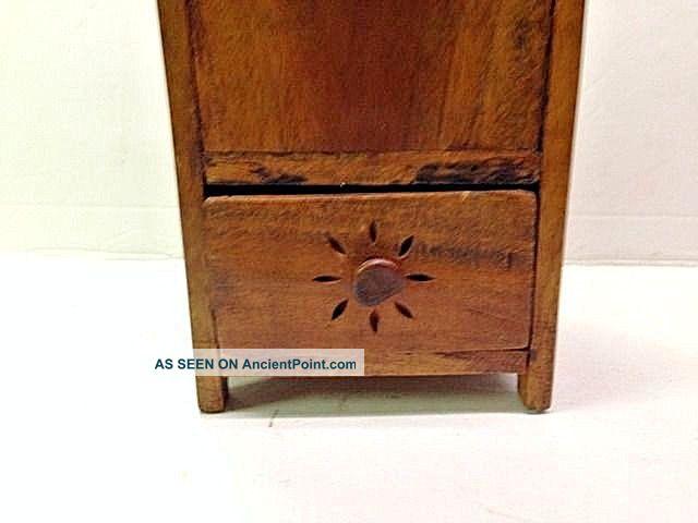 1840 ' S Burl Walnut Wall Hanging Folk Art Candle Box Or Pantry Box W Drawer Aafa Primitives photo