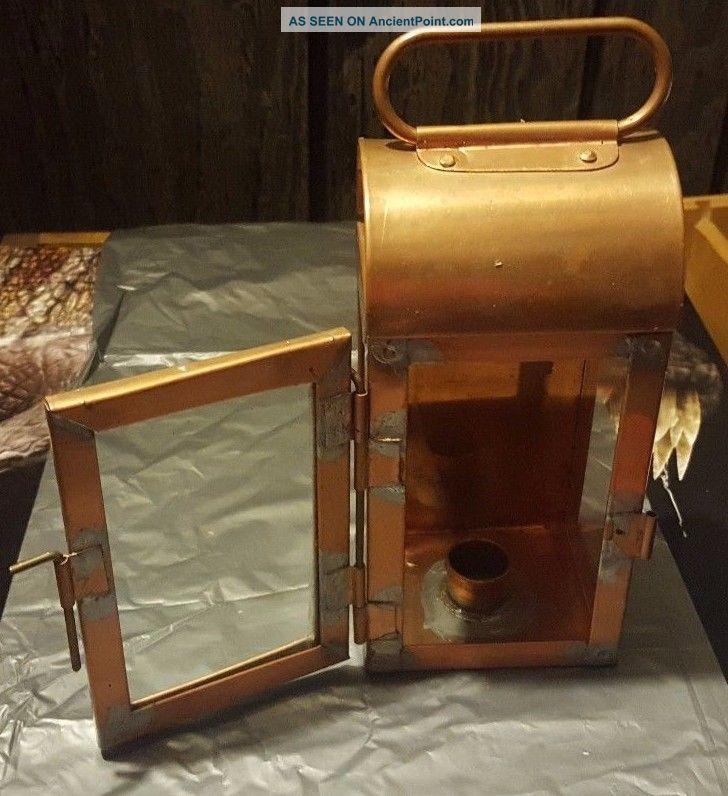 Antique Copper Metal & Glass Candle Lantern W Door Primitives photo