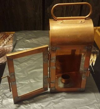 Antique Copper Metal & Glass Candle Lantern W Door photo