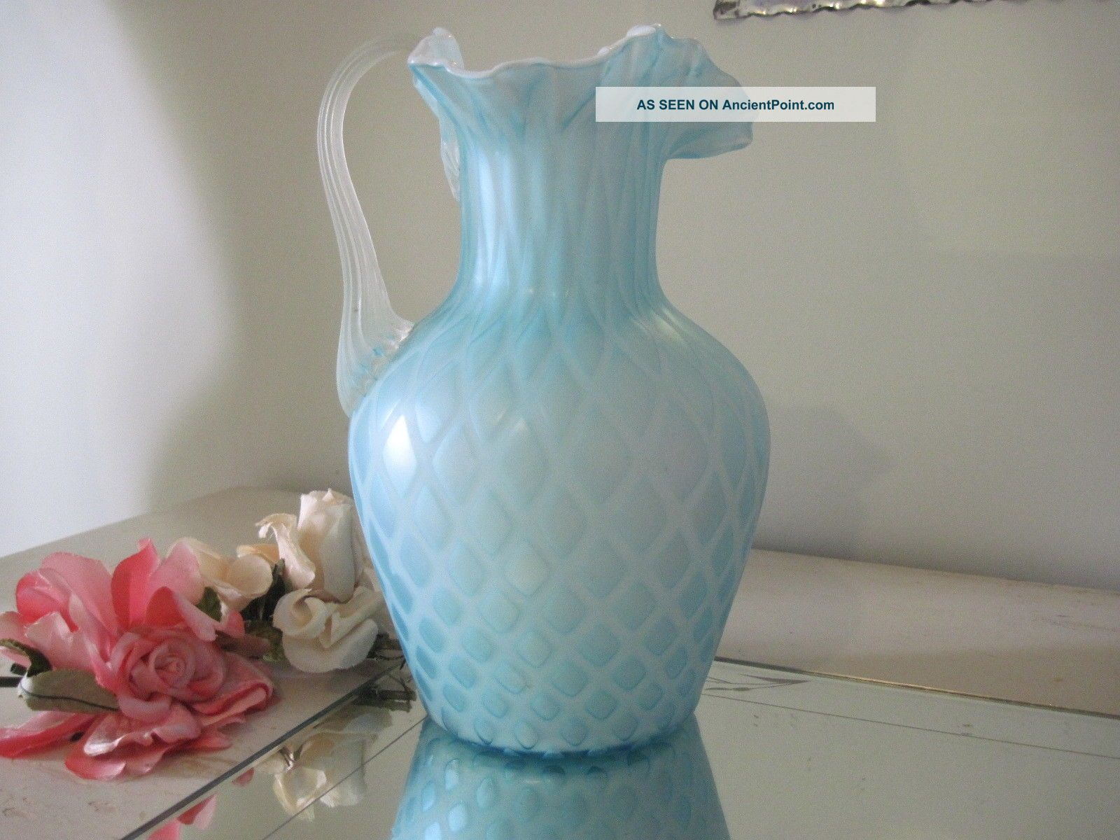 Antique Soft Blue Quilted Satin Glass Pitcher W/ruffle Pitchers photo