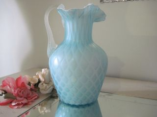Antique Soft Blue Quilted Satin Glass Pitcher W/ruffle photo