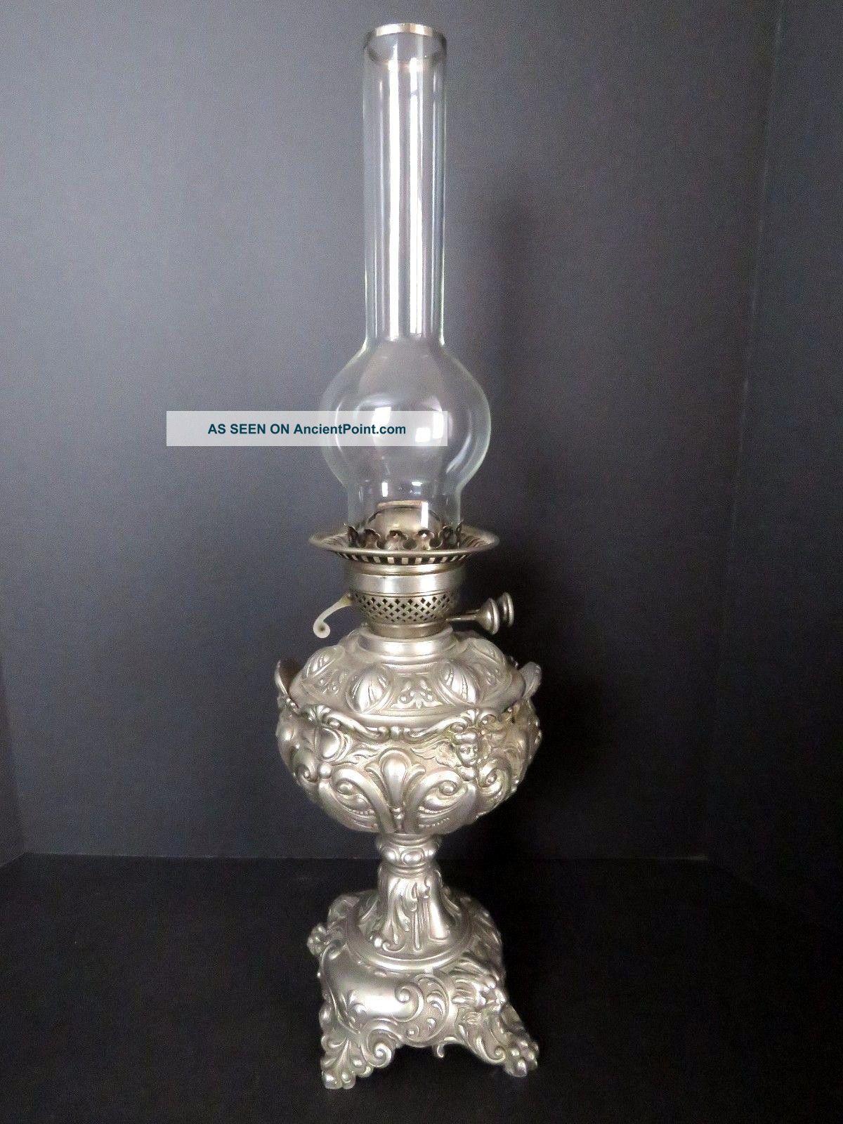 Antique Pewter German Kerosene Lamp With Glass Oil Insert. Lamps photo