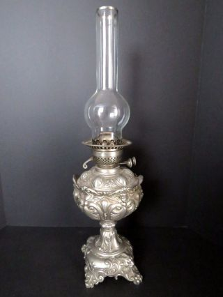 Antique Pewter German Kerosene Lamp With Glass Oil Insert. photo