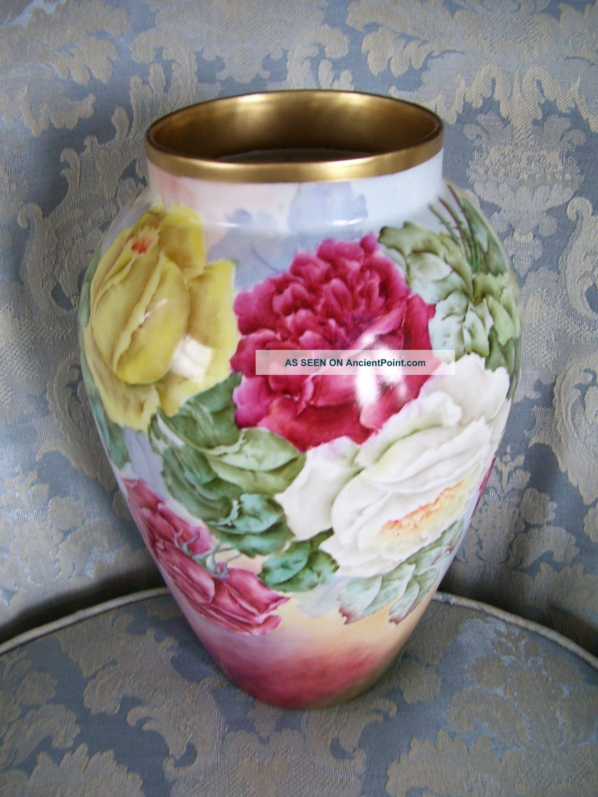 Limoges Vase; Delinieres & Co; Large Roses; Hand Painted; A E Sudder Vases photo