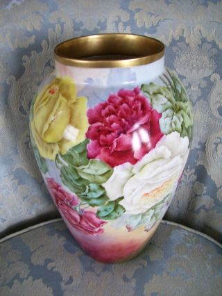 Limoges Vase; Delinieres & Co; Large Roses; Hand Painted; A E Sudder photo