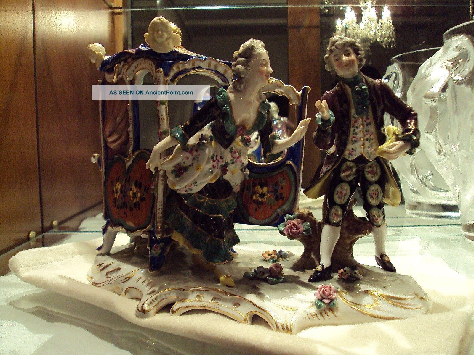 Royal Vienna Ladies Arrival Porcelain Figurine/austria Lat19th - E20thc/sanja Resv Figurines photo