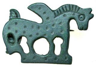 Roman Bronze Brooch Fibula Pegasus photo