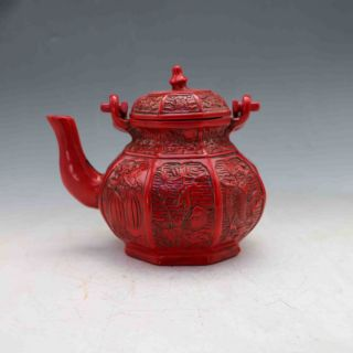 Chinese Collectable Red Resin Hand Carved Teapot&lid photo