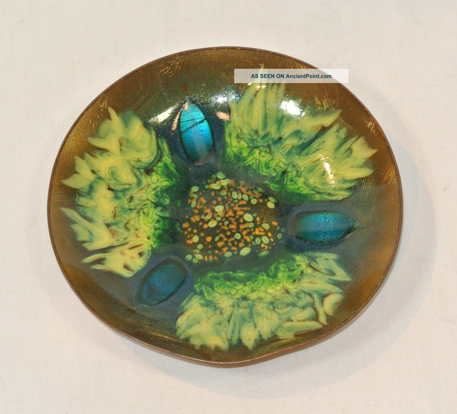 Vintage Edwards Star Enamel On Copper Bowl Green For Gumps San Francisco Mid-Century Modernism photo