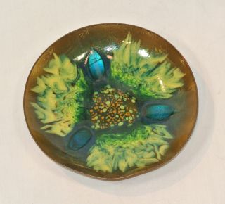 Vintage Edwards Star Enamel On Copper Bowl Green For Gumps San Francisco photo