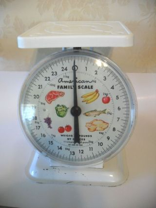 Vintage American Family 25 Lb.  White Kitchen Scale Steel Body W Plastic Top Tray photo