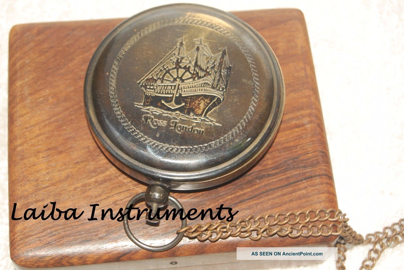 Antique Ross London Push Button Compass Sundial Compass Poem Compass Brass Gift Compasses photo