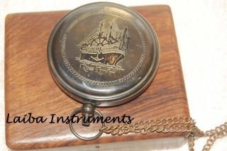 Antique Ross London Push Button Compass Sundial Compass Poem Compass Brass Gift photo