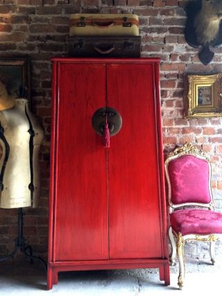 Stunning Antique Style Chinese Wardrobe Armoire Red Lacquered Oriental Shan Xi photo
