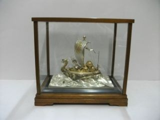 Silver Japanese Phoenix Treasure Ship.  287g/ 10.  10oz.  Japanese Antique photo