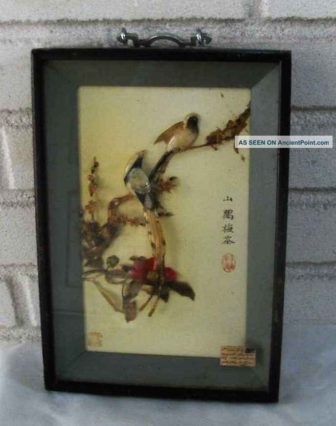 Wonderful Antique Hanging Shadow Box Abalone Birds Art,  Signed - - Oriental Other Antique Decorative Arts photo