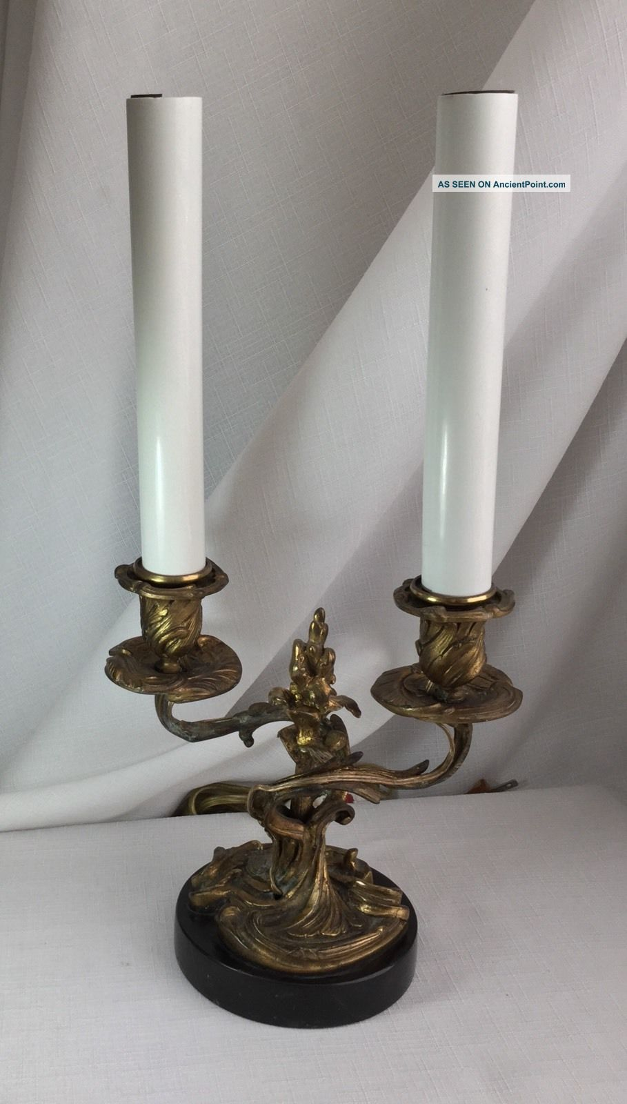 French Gilded Bronze Candlesticks Table Lamp/baroque Style/black Slate Base. Lamps photo