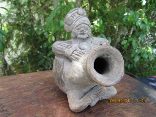 Antique Aztec/mayan God/chieftan Effigy Vessel W/2nd Head Protruding From Side photo
