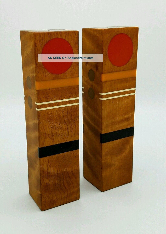 Robert Mckeown 1970 ' S Vintage Mid - Century Modern Bakelite Inlay Wooden Shakers Other Antique Woodenware photo