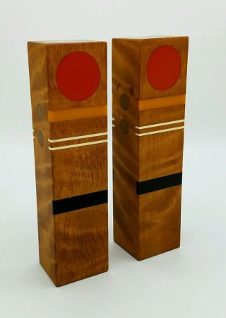 Robert Mckeown 1970 ' S Vintage Mid - Century Modern Bakelite Inlay Wooden Shakers photo
