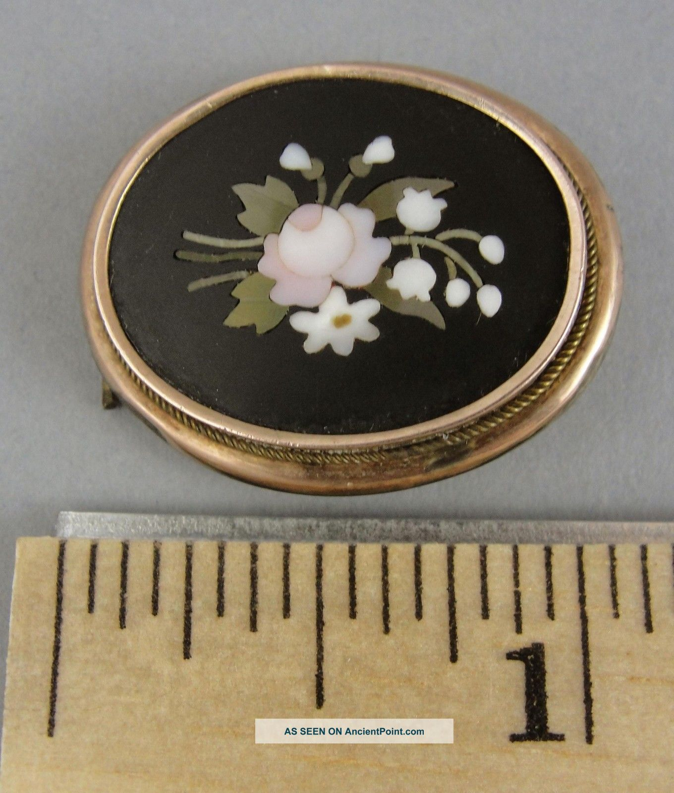 Antique Victorian Inlaid Stone Pietra Dura Flowers Gold Filled Pin,  Nr Victorian photo