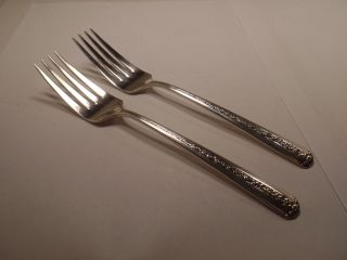 2 - Vintage Sterling Silver Salad Forks,  By Towle,  1937,  Rambler Rose Pattern photo