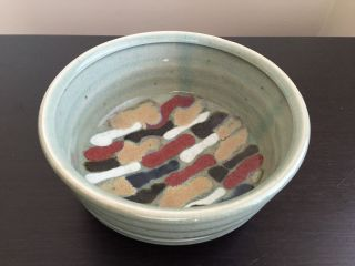 Fine Vintage Mid Century Modern Abstract Studio Pottery Signed Art Bowl Scott Nr photo