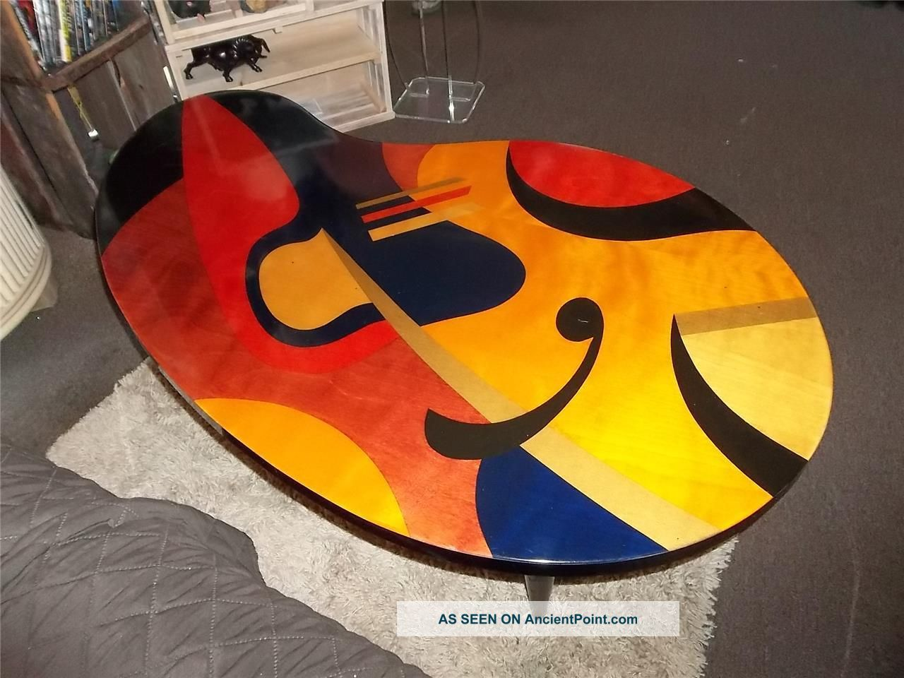 Vtg Mcm Benjamin Le Art Nouveau Kidney Shape Stained Inlaid Wood Coffee Table Post-1950 photo