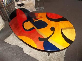 Vtg Mcm Benjamin Le Art Nouveau Kidney Shape Stained Inlaid Wood Coffee Table photo