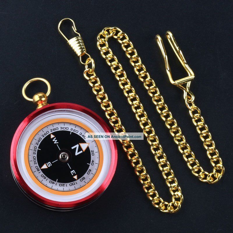 Pocket Watch Style Compass Metal Aluminum Alloy Shell Material Compass,  Chain Compasses photo