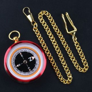 Pocket Watch Style Compass Metal Aluminum Alloy Shell Material Compass,  Chain photo