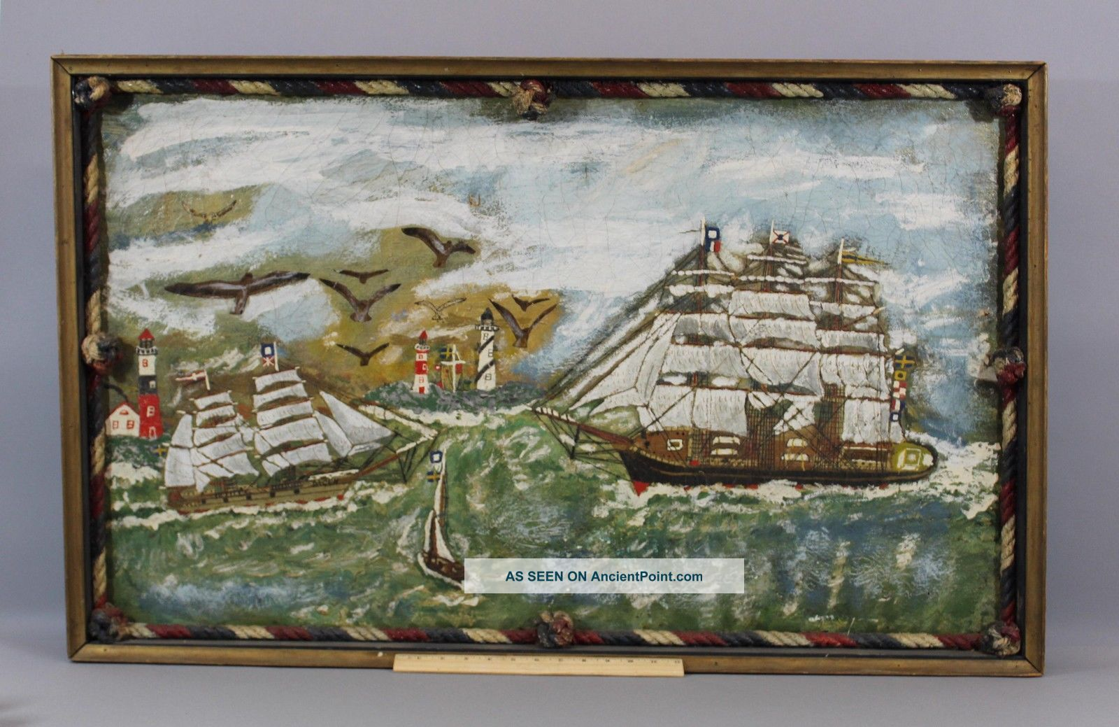 Antique Early 20thc Maritime Nautical Sailing Ship Lighthouse Folk Art Painting Folk Art photo