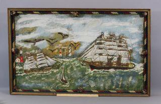 Antique Early 20thc Maritime Nautical Sailing Ship Lighthouse Folk Art Painting photo
