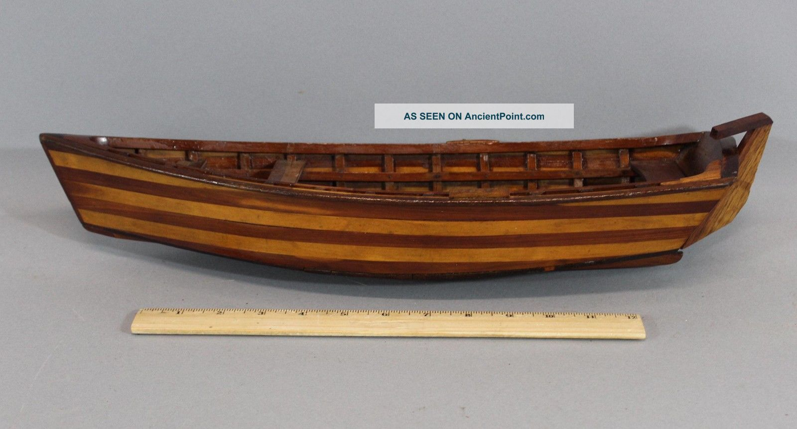 Small 19thc Antique Nautical Folk Art Walnut & Maple Sailboat Rowboat Model Nr Model Ships photo