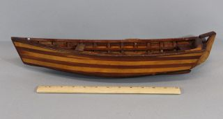 Small 19thc Antique Nautical Folk Art Walnut & Maple Sailboat Rowboat Model Nr photo