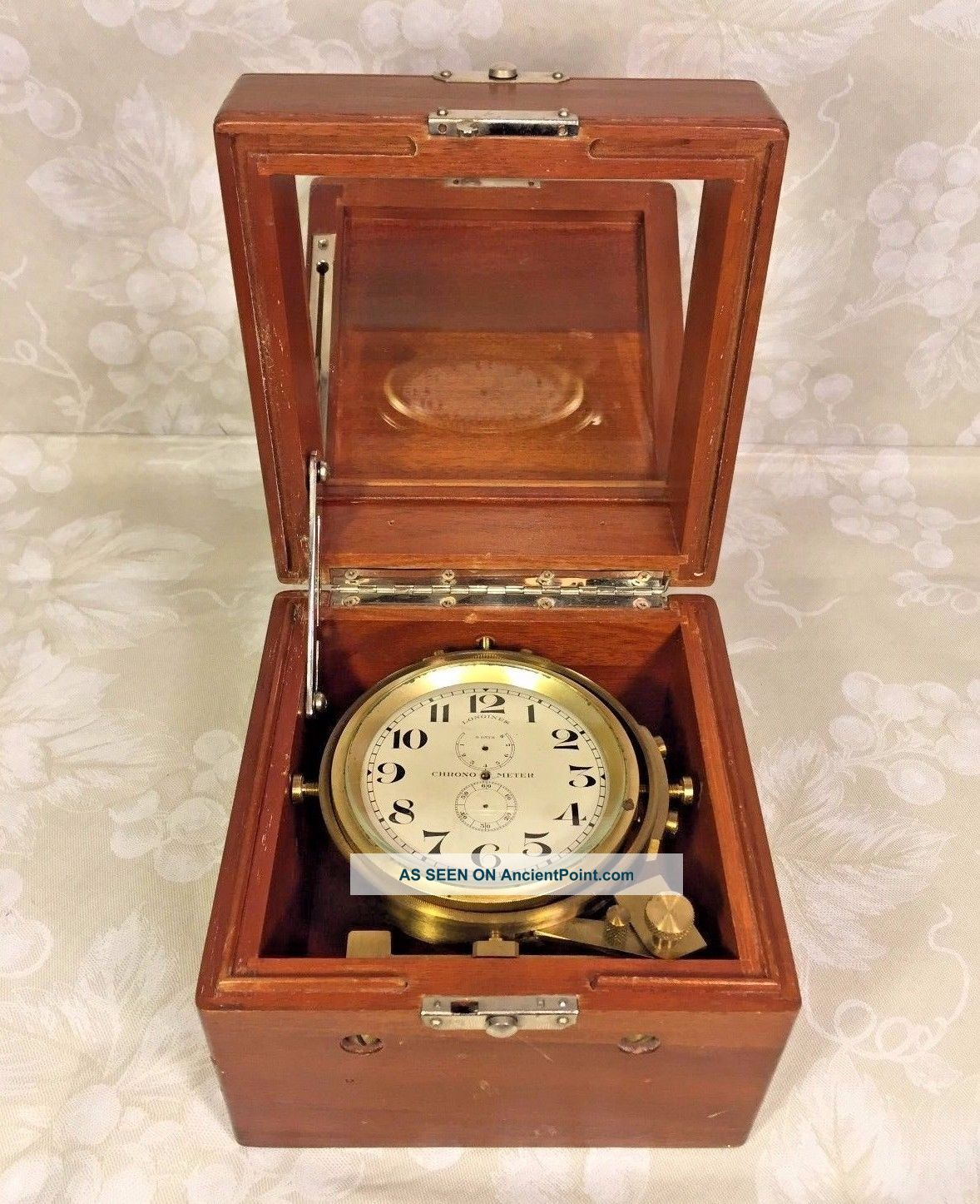 Vtg Longines 8 Day Ship Chronometer In Wood Case Not Running Project Clock Clocks photo