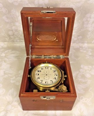 Vtg Longines 8 Day Ship Chronometer In Wood Case Not Running Project Clock photo