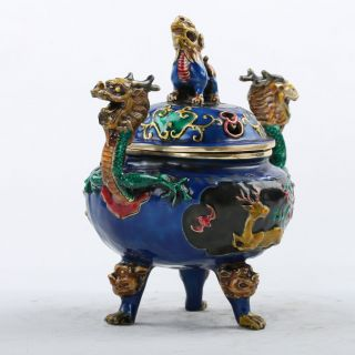 Chinese Cloisonne Hand Carved Kylin Lid Dragon Incense Burners W Xuande Mark photo