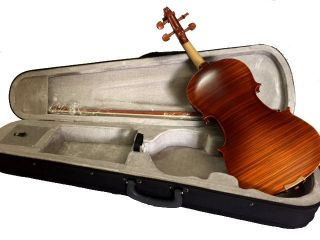 Antique Finish Tiger Flamed 4/4 Strad Fullsize German Violin Fiddle photo