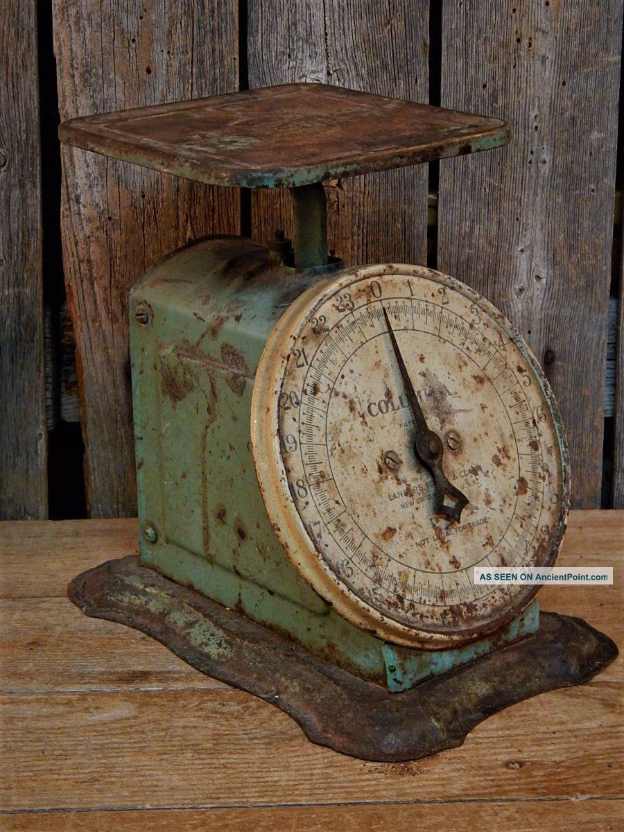 Antique Primitive Green Teal Rustic Kitchen Scale Farm House Primitives photo
