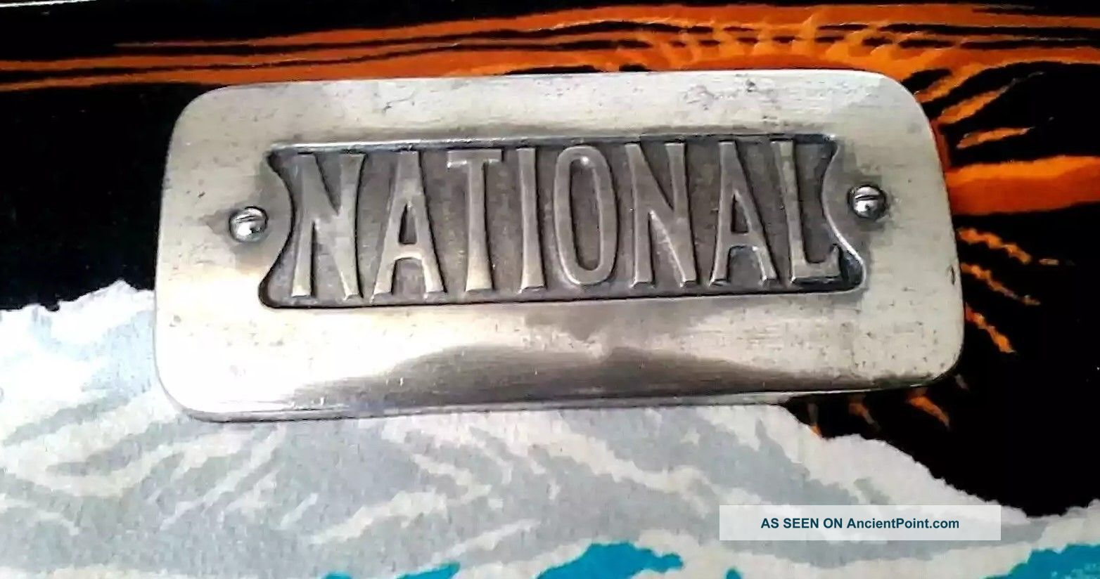 Antique National Cook Stove Cast Iron Emblem Nickel Plated Stoves photo