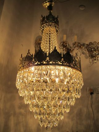 Antique Vnt French Basket Style Crystal Mosque Chandelier Lamp 1940 ' S photo